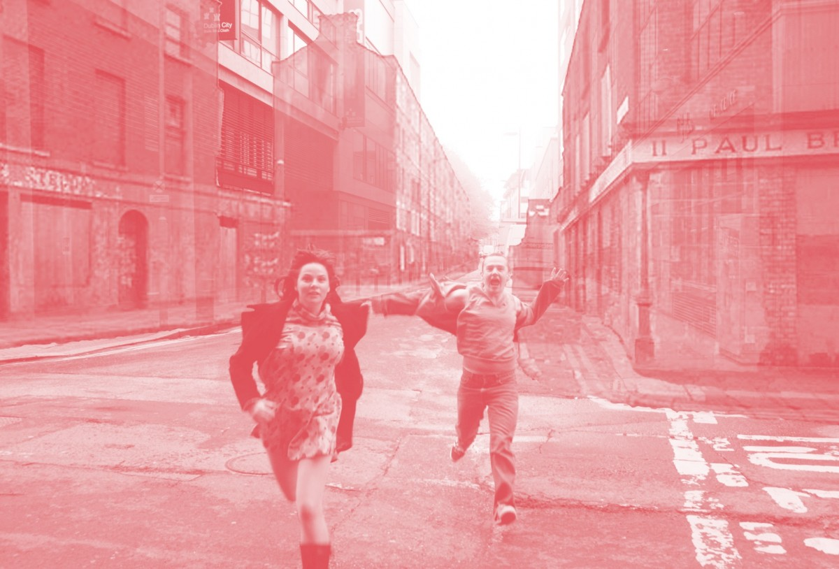 Composite image using digital image from the internet and original photograph by Owen Boss. Performers Una Kavanagh and Robbie O'Connor.
